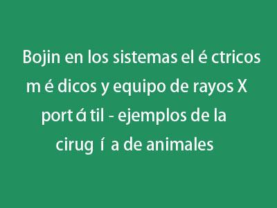 Bojin en los sistemas eléctricos médicos y equipo de rayos X portátil - ejemplos de la cirugía de animales