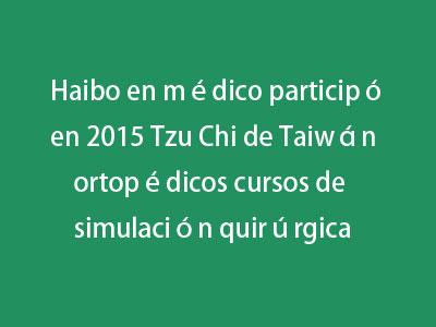 Haibo en médico participó en 2015 Tzu Chi de Taiwán ortopédicos cursos de simulación quirúrgica